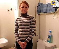 Amateur blondie gets filmed urinating in the loo
