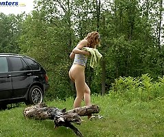 Rich slut stops her ride in woods to take a leak