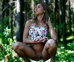 Watch young girl with perfect face and body pee