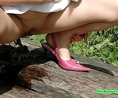 Prankish teen candy pisses all over the park bench