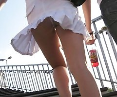 Quick upskirt flash in public