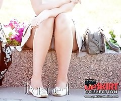 Pretty upskirt girls soak in the sun